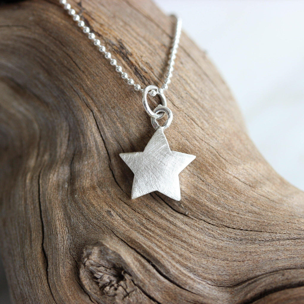 Sterling Silver Solid Star Necklace Pendant Matt Finish 45cm Ball Chain Necklace