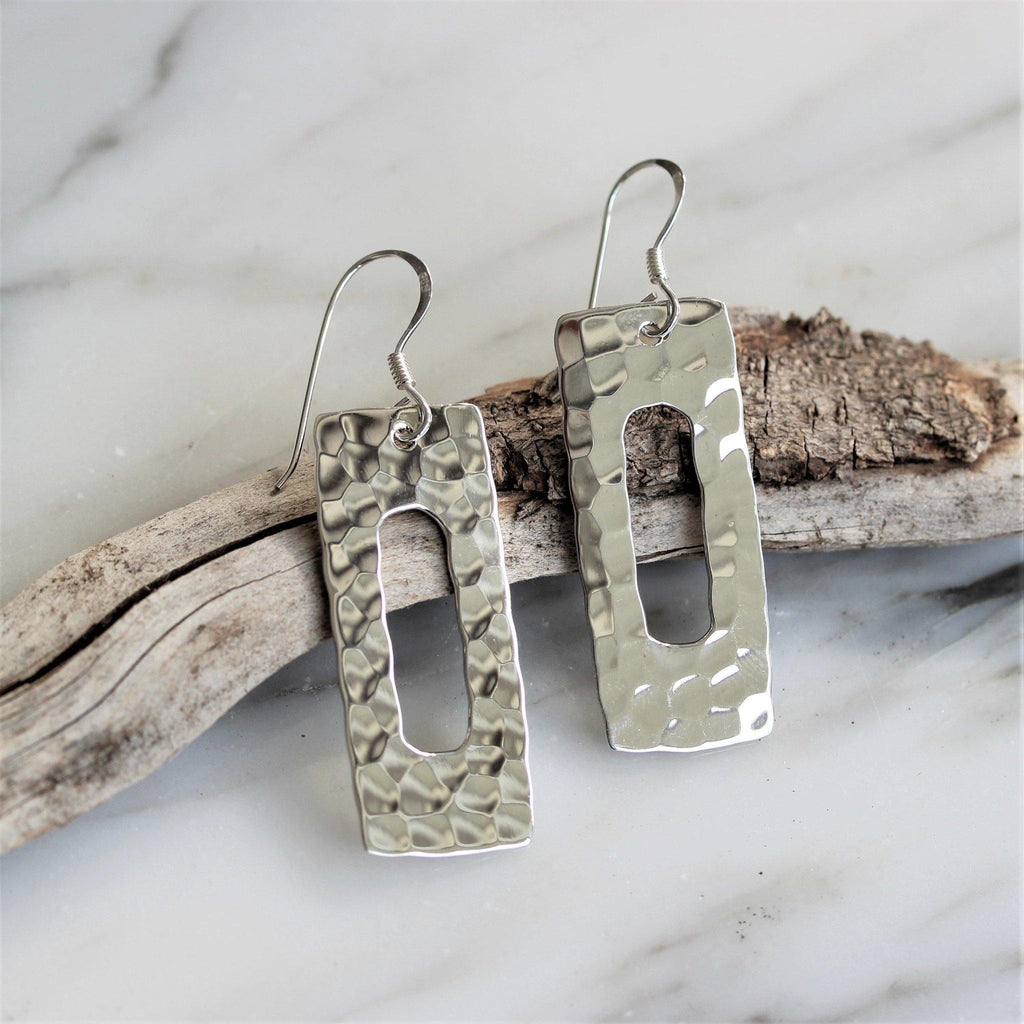 Sterling Silver 925 Modern Hammered Beaten Drop Dangle Open Rectangle Earrings