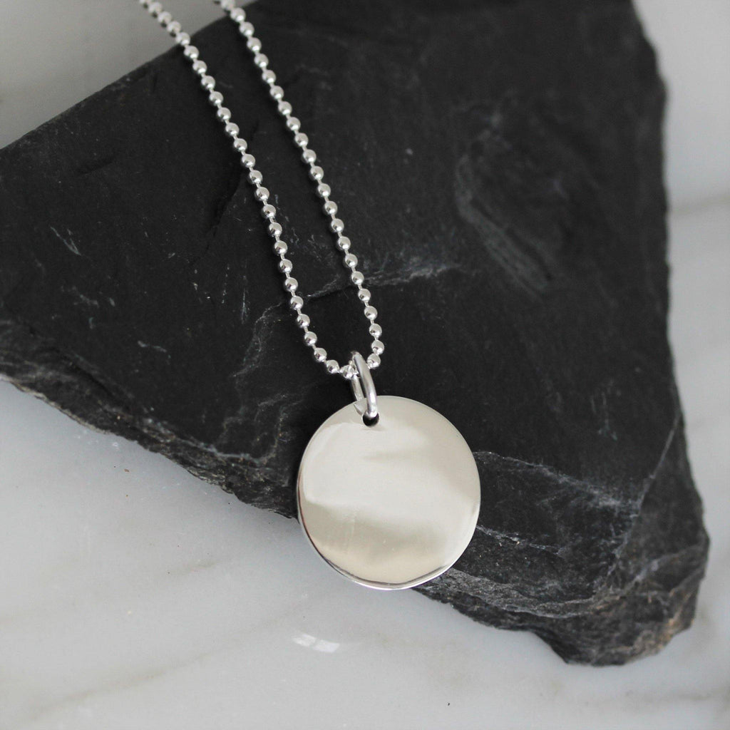 Genuine Sterling Silver 925 14mm Round Disc Pendant & Bead Ball Chain Necklace