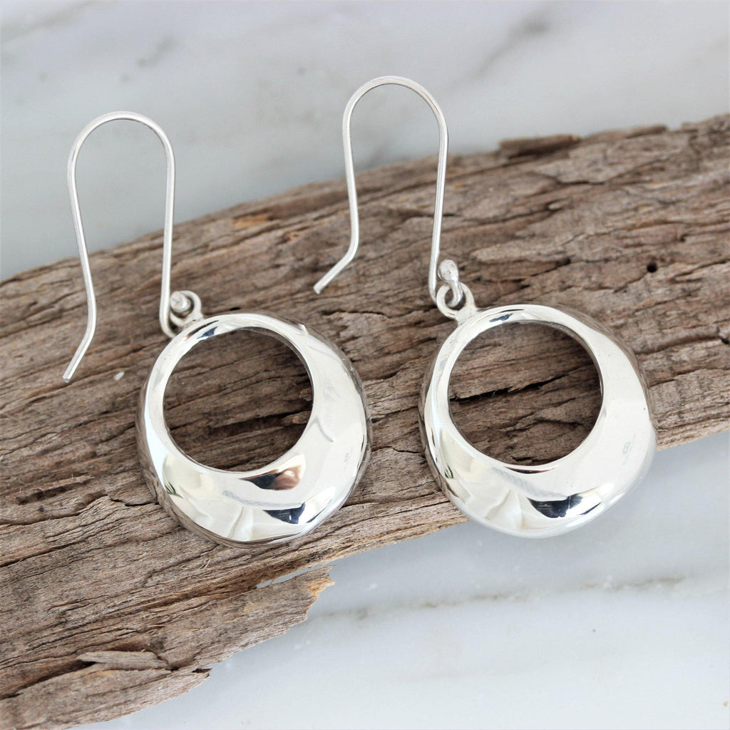 Genuine Sterling Silver 925 Cut Out Circle Round Drop Dangle Earrings