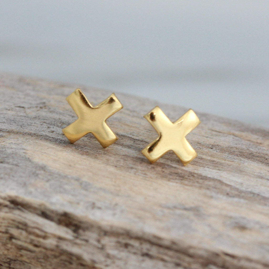 "Sterling Silver 925 Yellow Gold Plated Small 6mm ""X"" Kisses Cross Stud Earrings"
