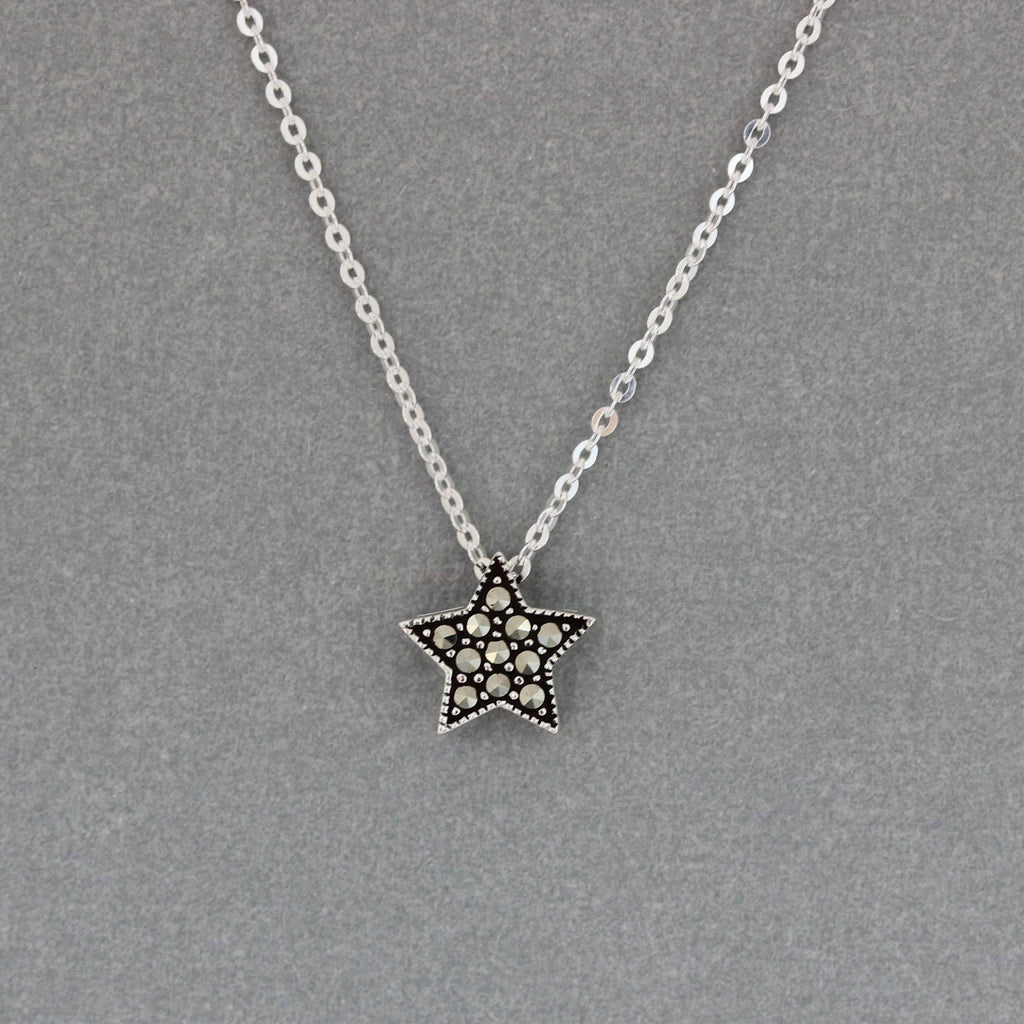 GIGI DESIGNS Sterling Silver 925 Marcasite 10mm Star Slider Pendant & Necklace