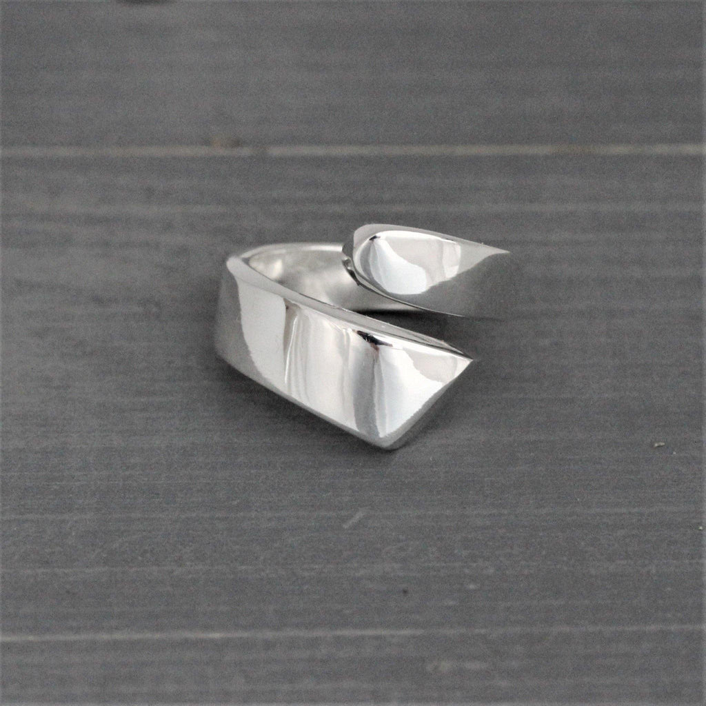Genuine Sterling Silver 925 Modern Contemporary Asymmetrical Ring