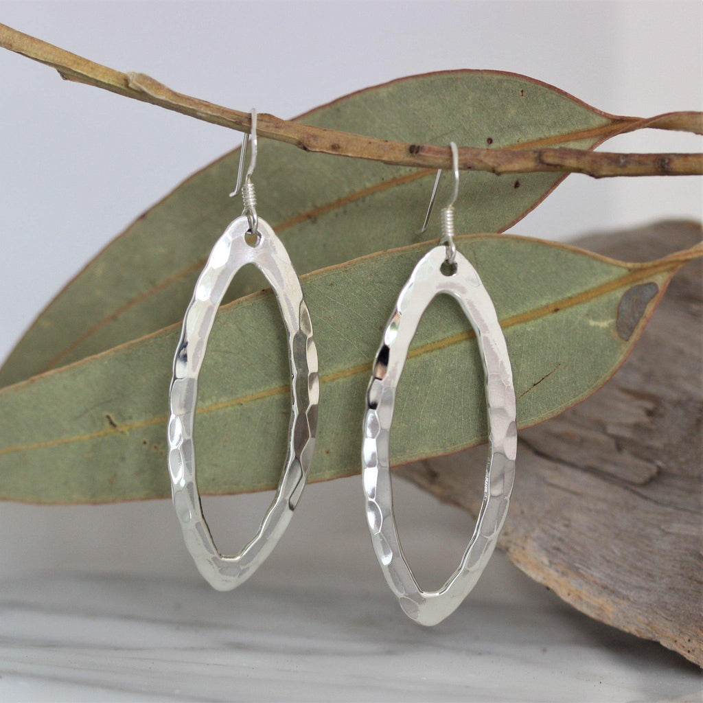 Sterling Silver 925 Modern Hammered Beaten Drop Dangle Open Oval Earrings