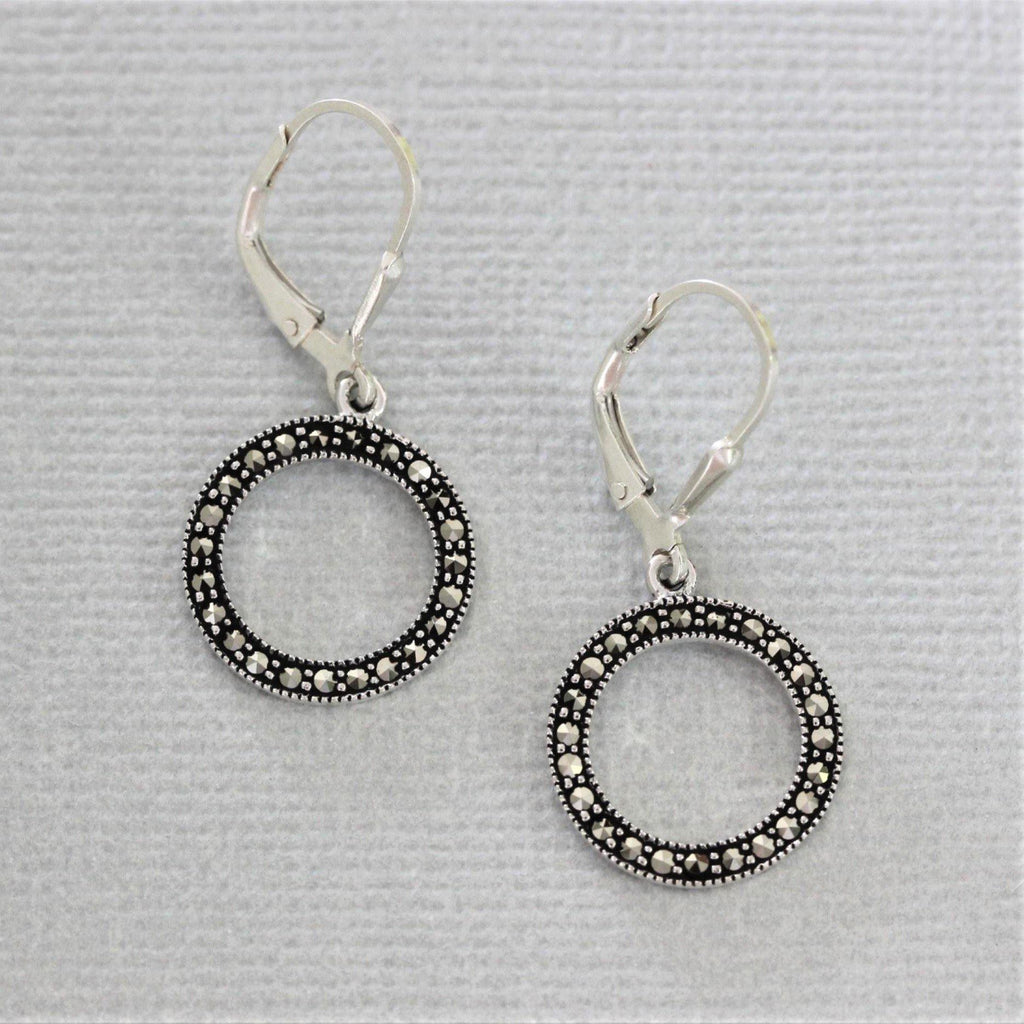 "Sterling Silver 925 Marcasite 15mm Cut Out Circle ""O"" Leverback Drop Earring"