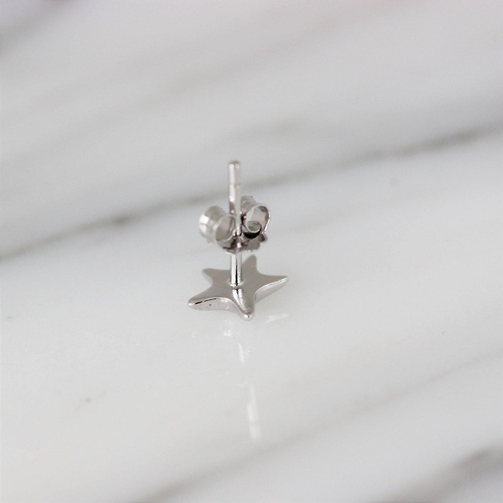 Genuine Sterling Silver 925 Rhodium Plated Small 7mm Puffy Star Stud Earrings