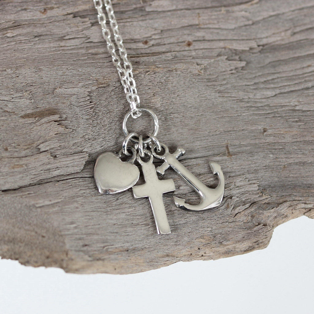 Sterling Silver 925 Anchor, Cross & Heart Charm Dangle Pendant & 45cm Necklace