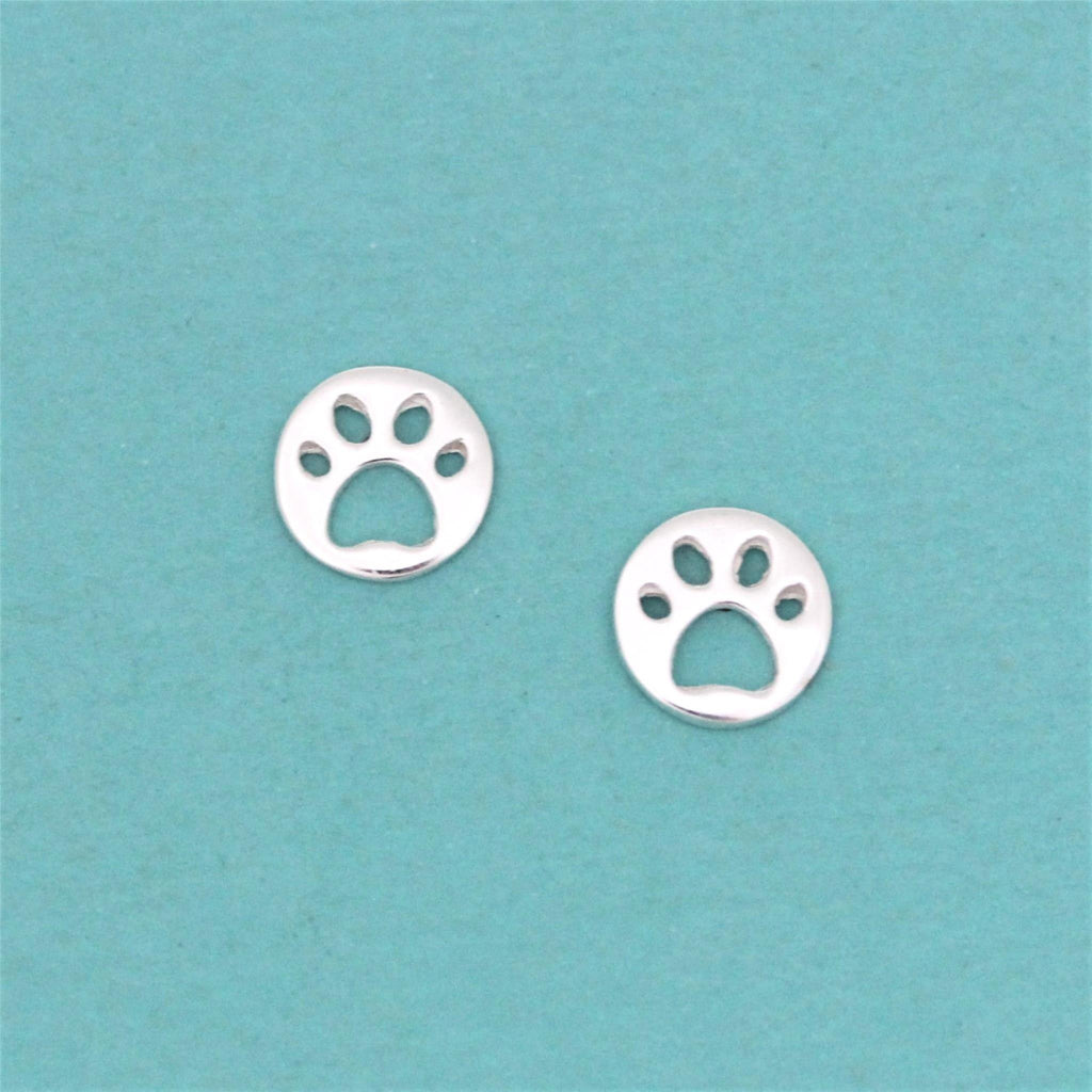 Genuine Sterling Silver 8mm Cut Out Dog Paw Stud Animal Earrings Ladies Kids