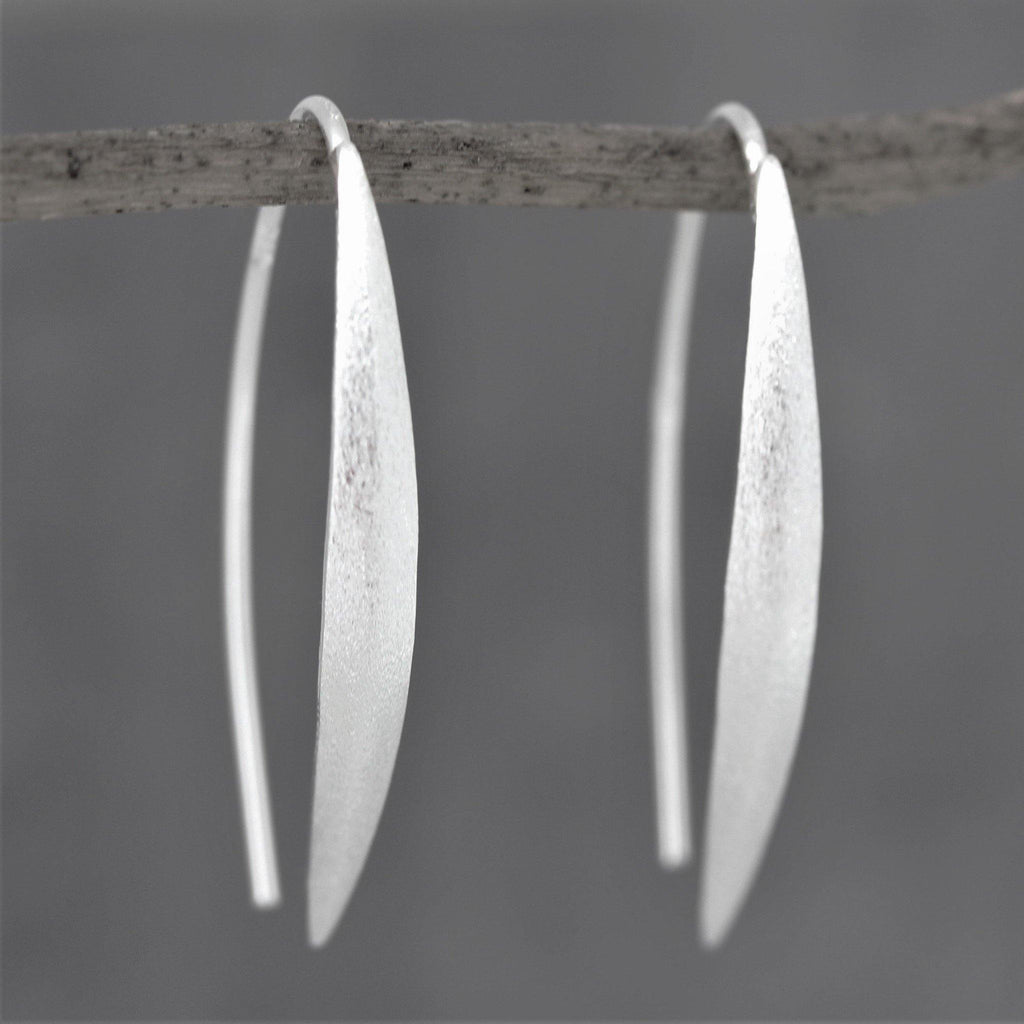 Genuine Sterling Silver 925 Modern Brushed Matt Finish Bar Hook Drop Earrings