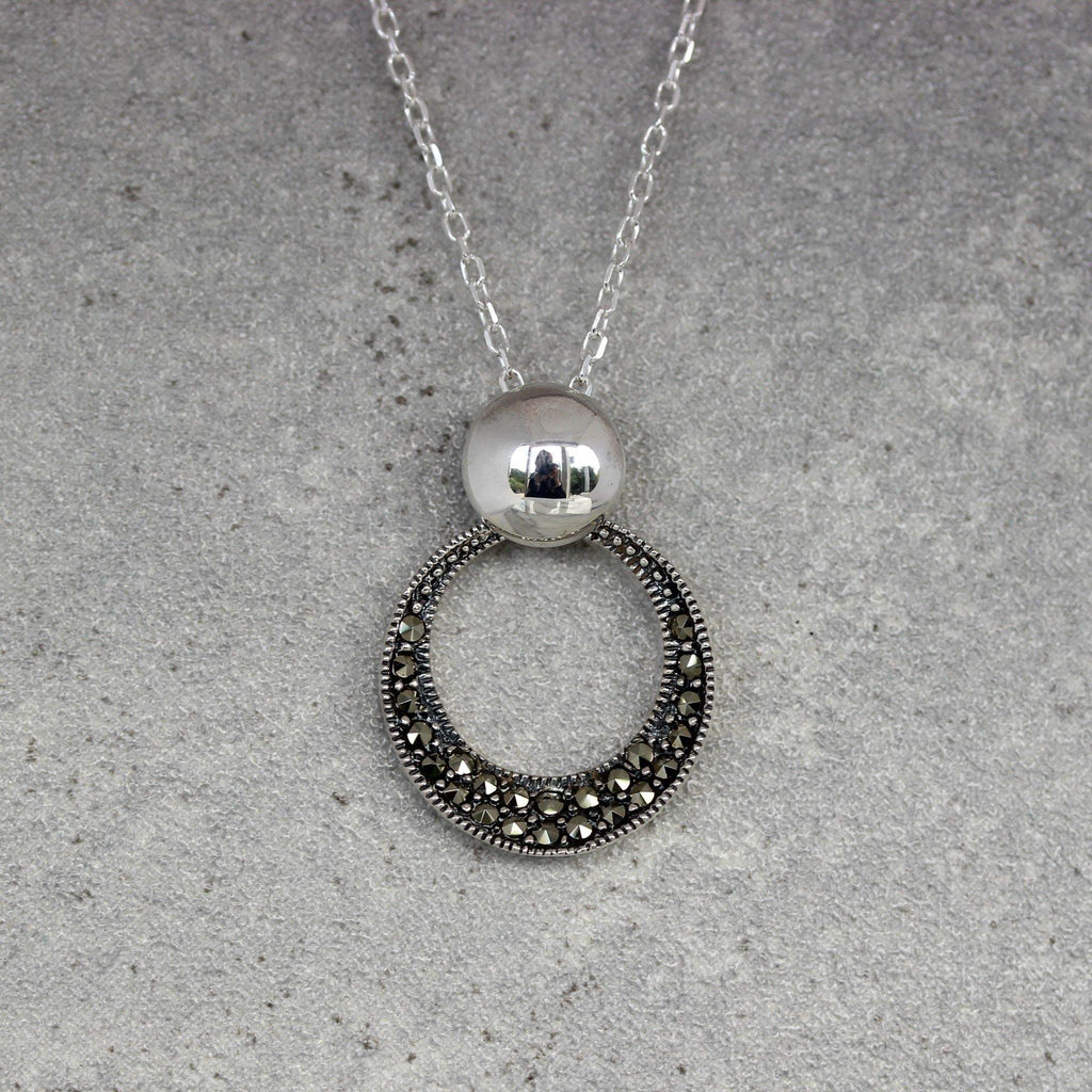 "Sterling Silver 925 Marcasite Cut Out Circle ""O"" Pendant Necklace 45cm Length"