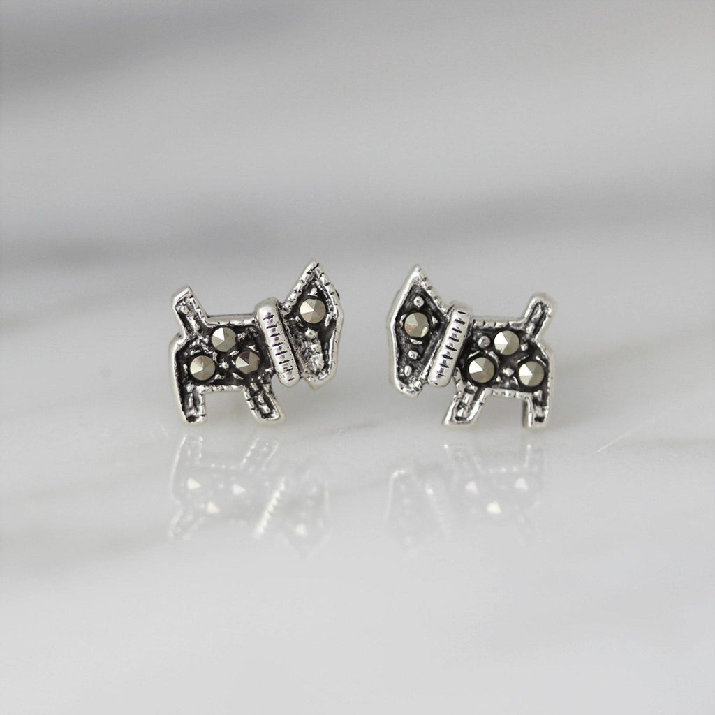Sterling Silver 925 Dog Marcasite Vintage Style Scotty Terrier Dog Stud Earrings