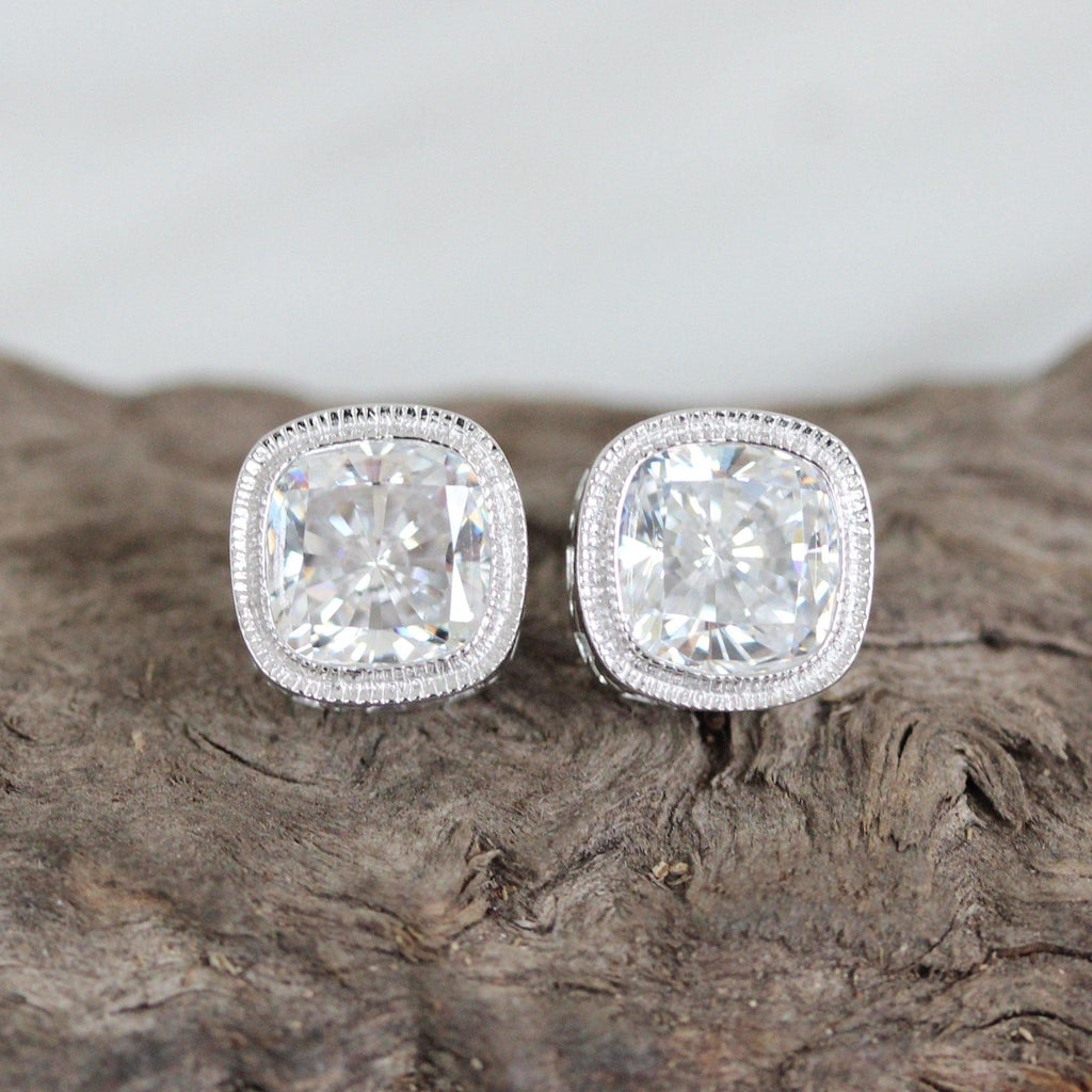 Sterling Silver Bridal Art Deco Vintage Style 10mm Cushion Cut CZ Stud Earrings