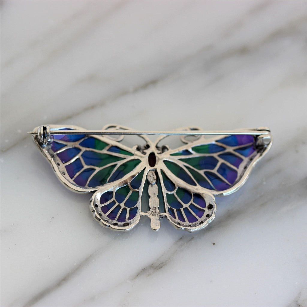 Butterfly Marcasite Ruby Enamel Brooch Pin Sterling Silver 925 Vintage Inspired