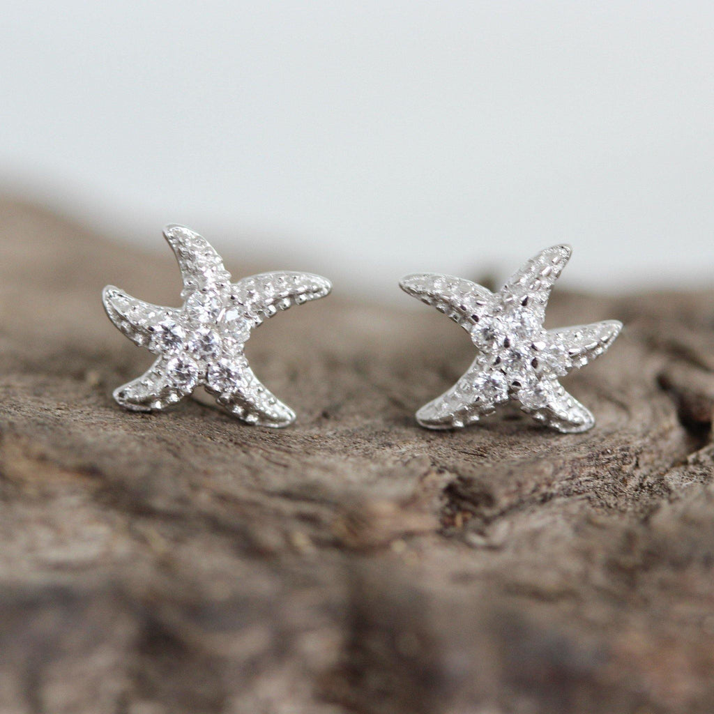 Genuine Sterling Silver 925 6mm CZ Starfish Pave Set Stud Earrings