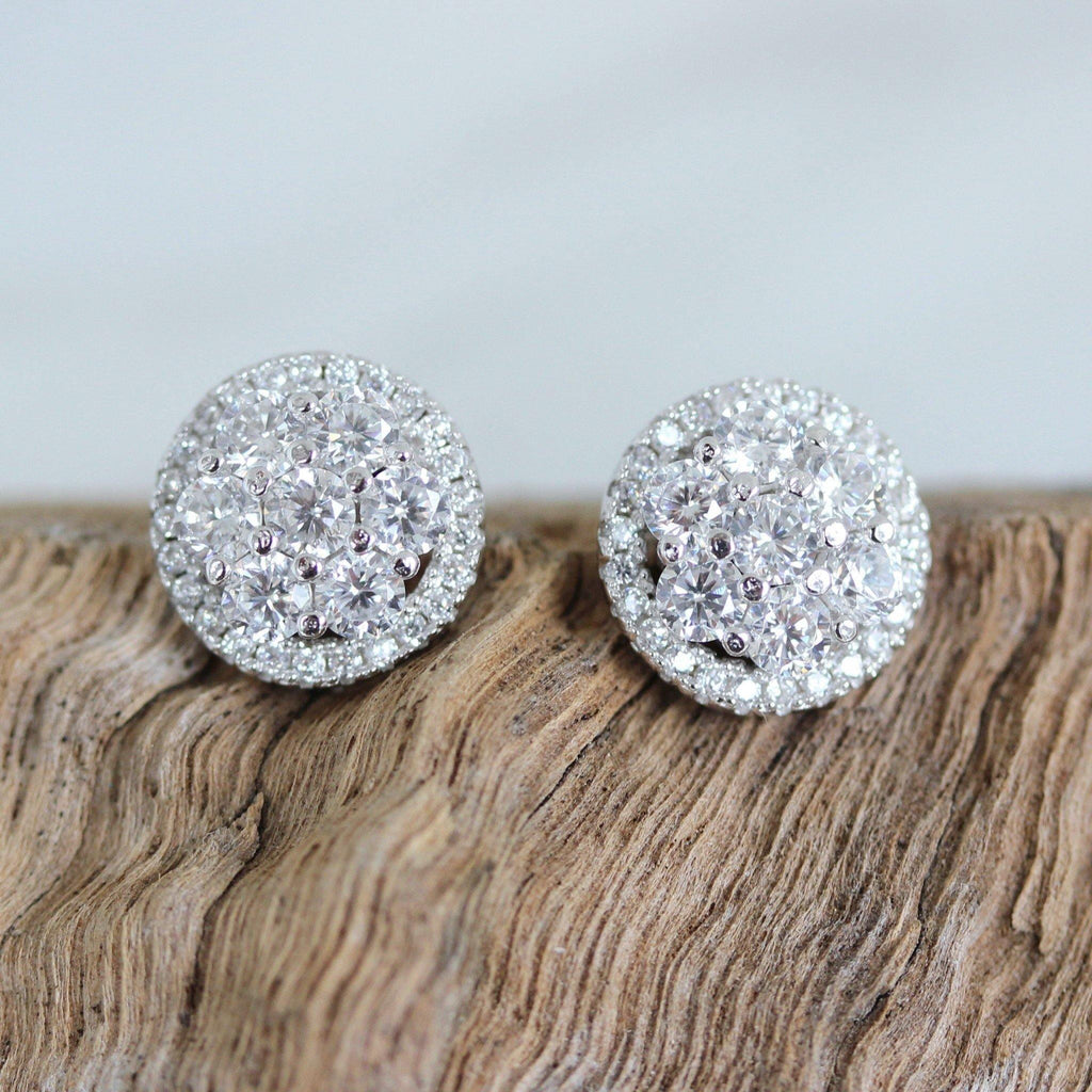 Sterling Silver 925 Bridal Wedding 10mm Round Flower Cluster CZ Stud Earrings