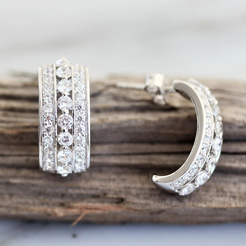 Genuine 925 Sterling Silver CZ Half Hoop Triple Row Stud Drop Earrings