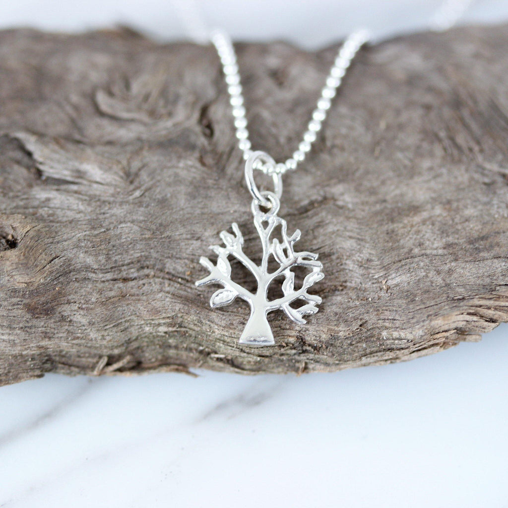 Sterling Silver 925 Small Tree of Life Pendant & 40cm Bead Ball Chain Necklace