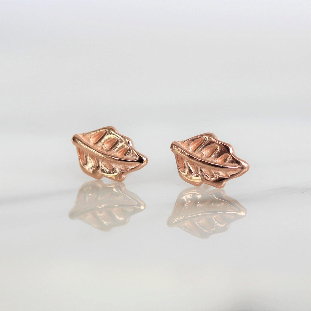 Genuine Sterling Silver 925 Rose Gold Plated Small Feather Stud Earrings