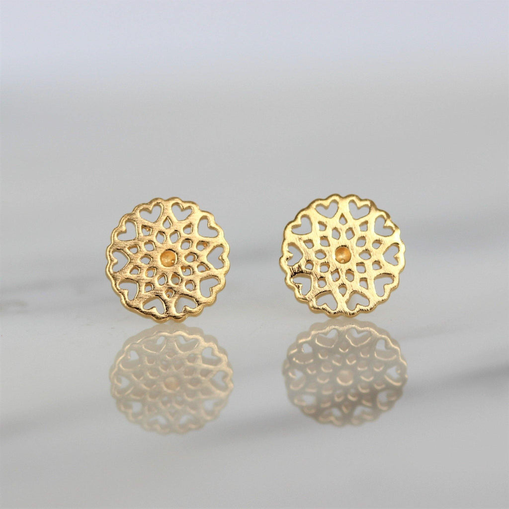 Sterling Silver Yellow Gold Plated 8mm Round Filigree Matt Finish Stud Earrings