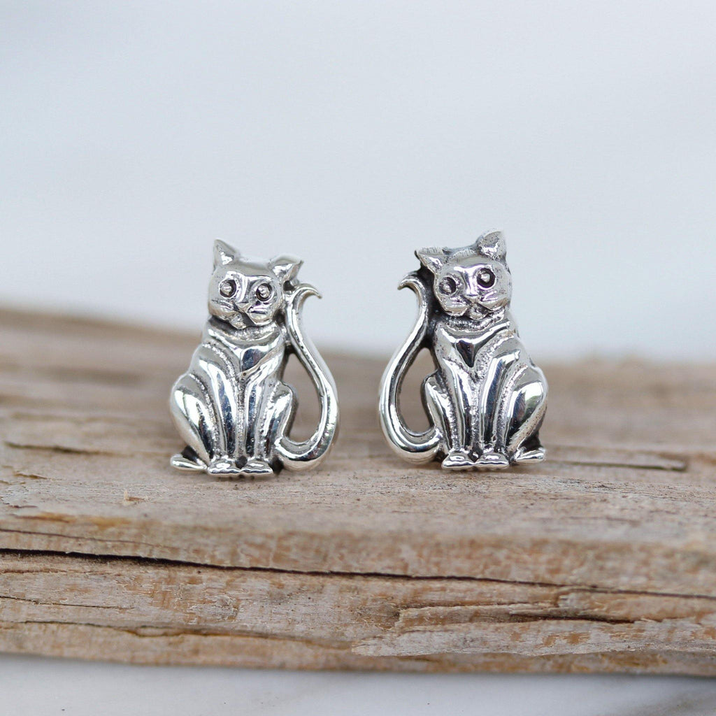 Genuine Sterling Silver 925 Cat Kitten Earrings Animal Stud Cat Earrings
