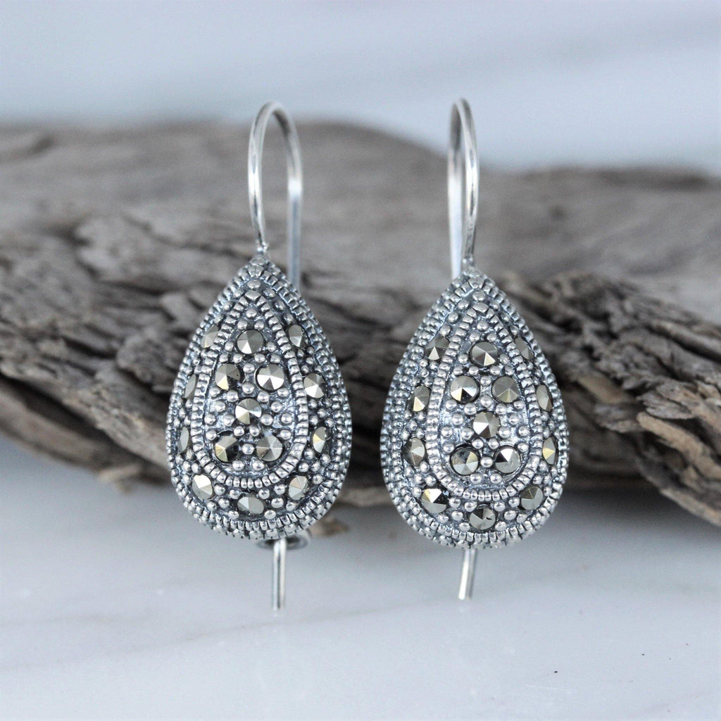 Genuine Sterling Silver Vintage Style Marcasite Teardrop French Hook Earrings