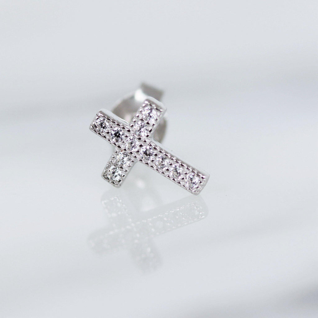 Genuine Sterling Silver 925 Vintage Inspired CZ Religious Cross Stud Earrings