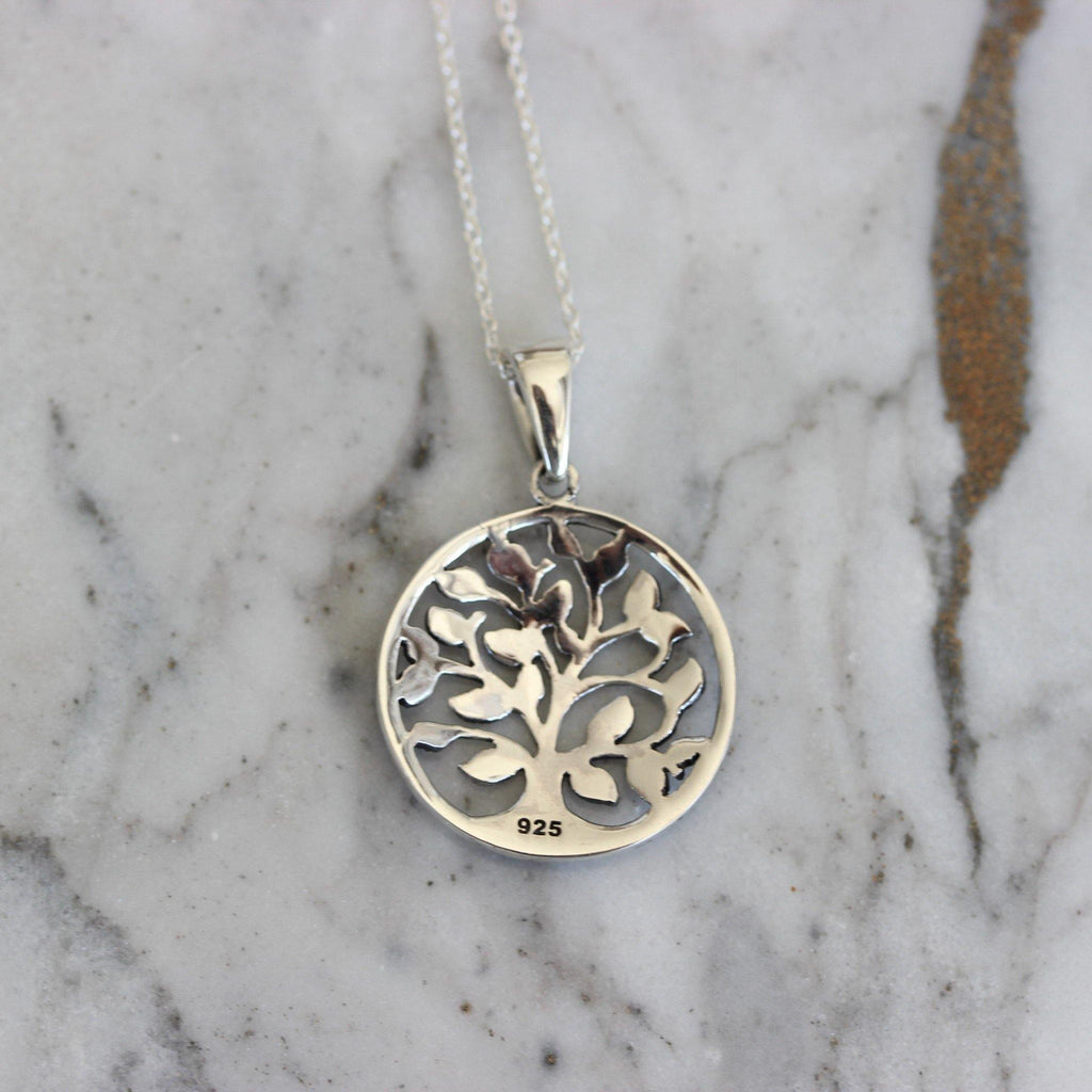 Sterling Silver 925 Tree Of Life Marcasite Necklace Pendant 42+3cm Vintage Style
