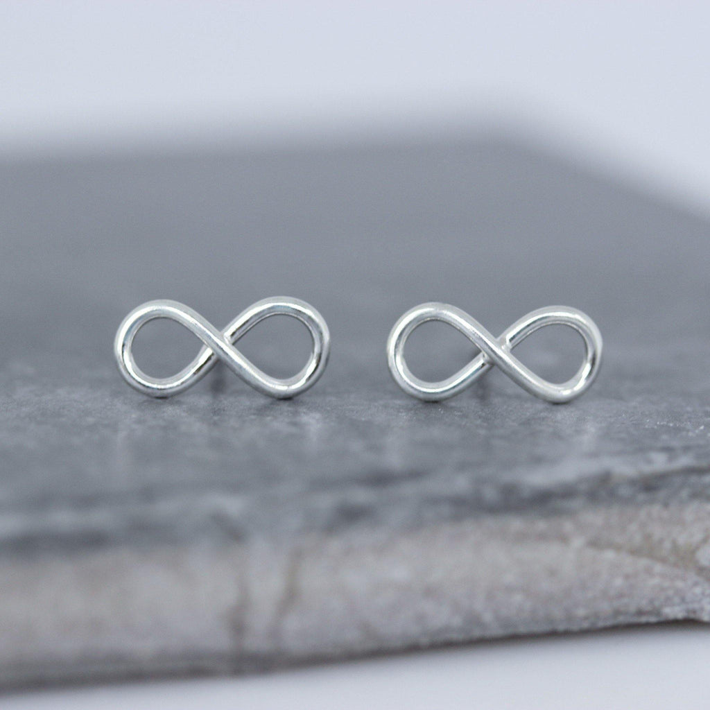 Genuine Sterling Silver 925 Big Infinity Eternity Stud Earrings Plain Silver