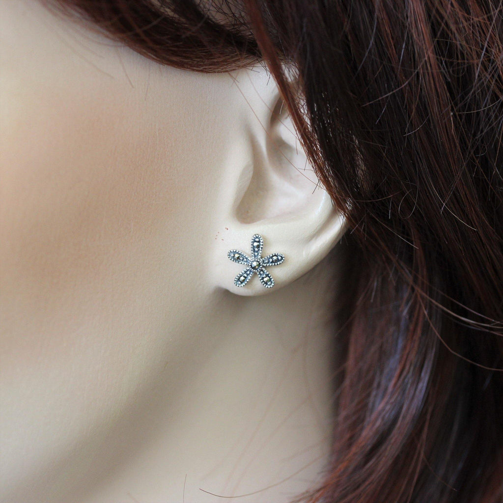 Genuine Sterling Silver 925 Marcasite Vintage Style 10mm Flower Stud Earrings
