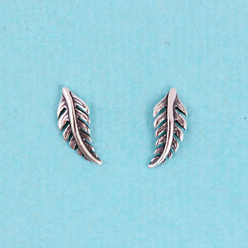 Genuine Sterling Silver 925 Small Boho Feather Stud Earrings Girls or Ladies