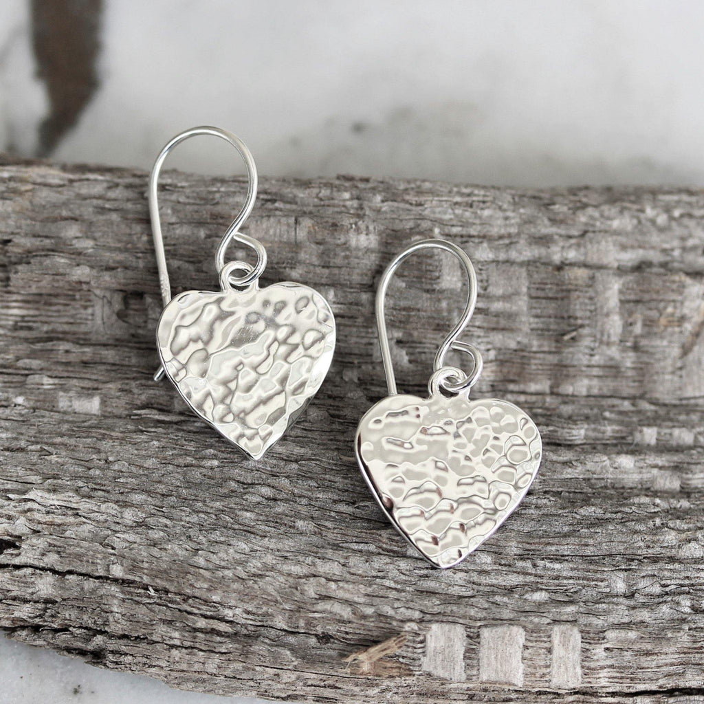 Sterling Silver 925 Modern Love Heart Hammered Beaten Drop Dangle Hook Earrings