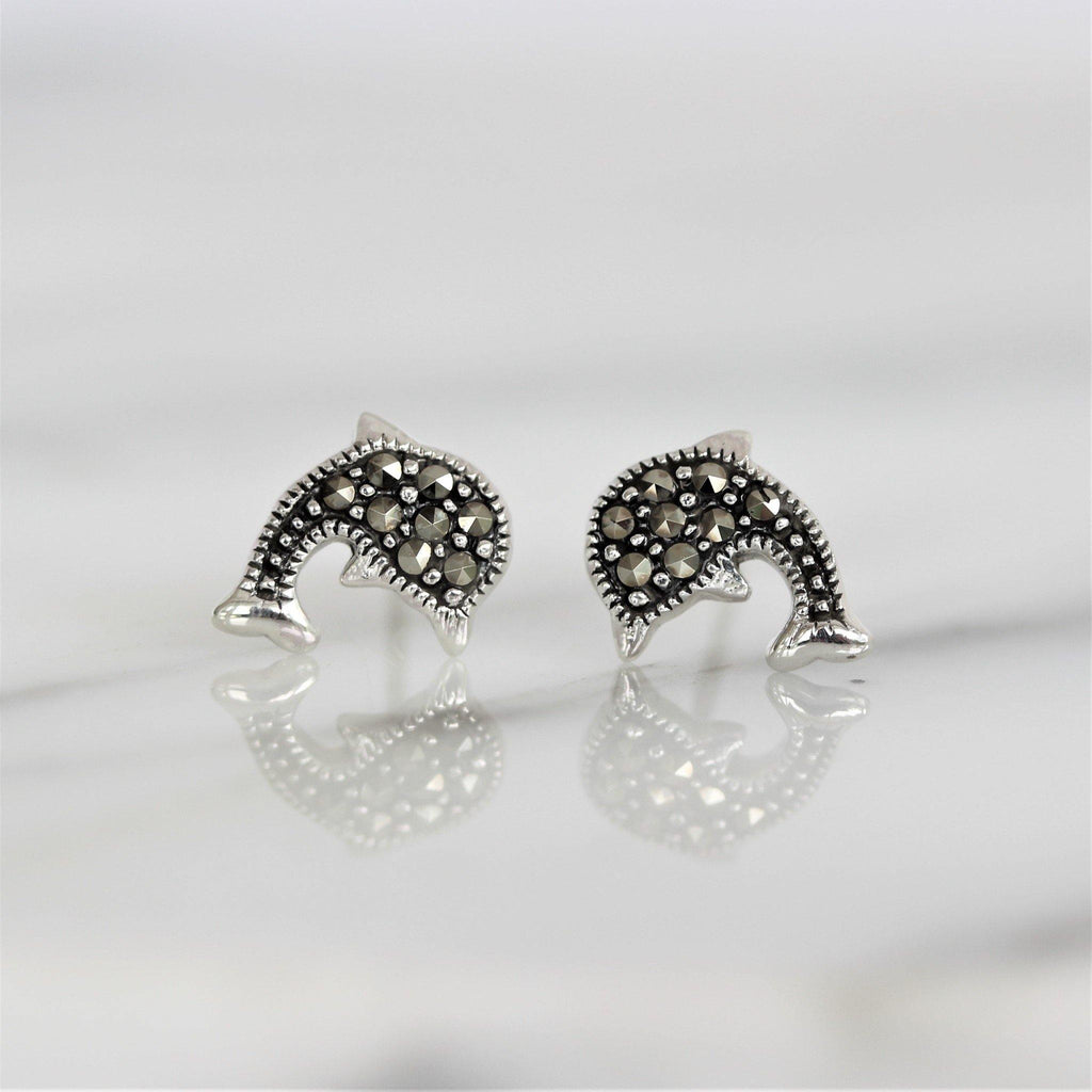 Sterling Silver 925 Marcasite Vintage Style Dolphin Marine Animal Stud Earrings