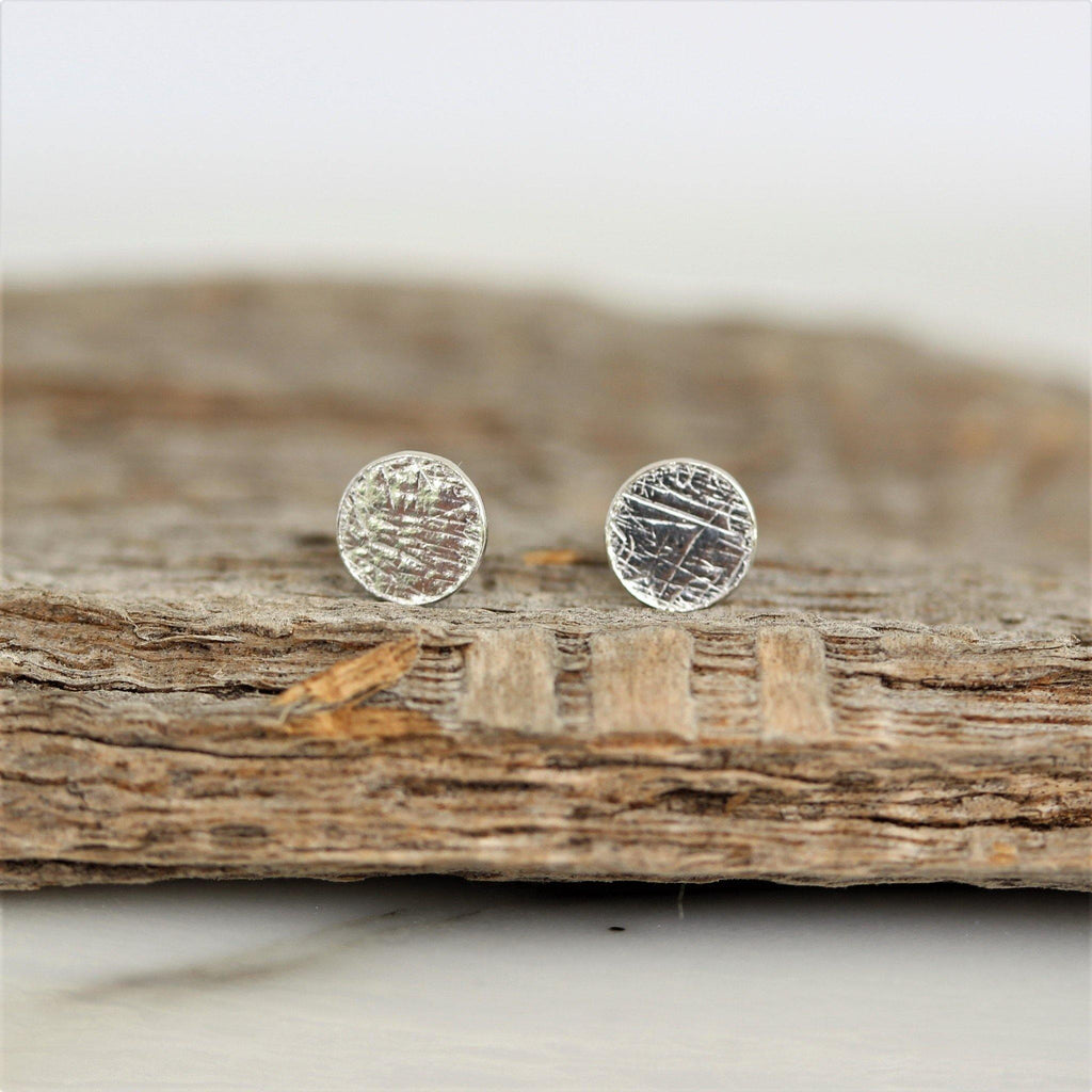 Genuine Sterling Silver Small 5mm Round Scratched Finish Flat Disc Stud Earrings