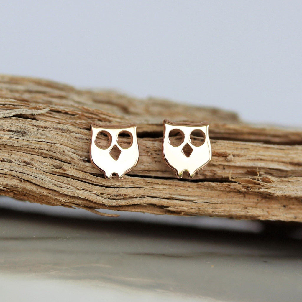 Genuine Sterling Silver 925 Rose Gold Plated Owl Bird Stud Earrings Plain Silver