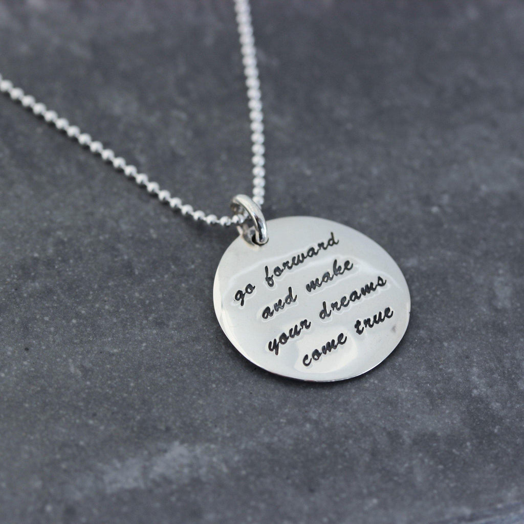 Sterling Silver 925 'Go Forward & Make Your Dreams Come True' 55cm Disc Necklace