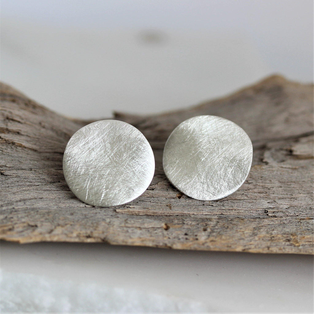 Sterling Silver Big Round Concave 17mm Brushed Matt Finish Silver Stud Earrings
