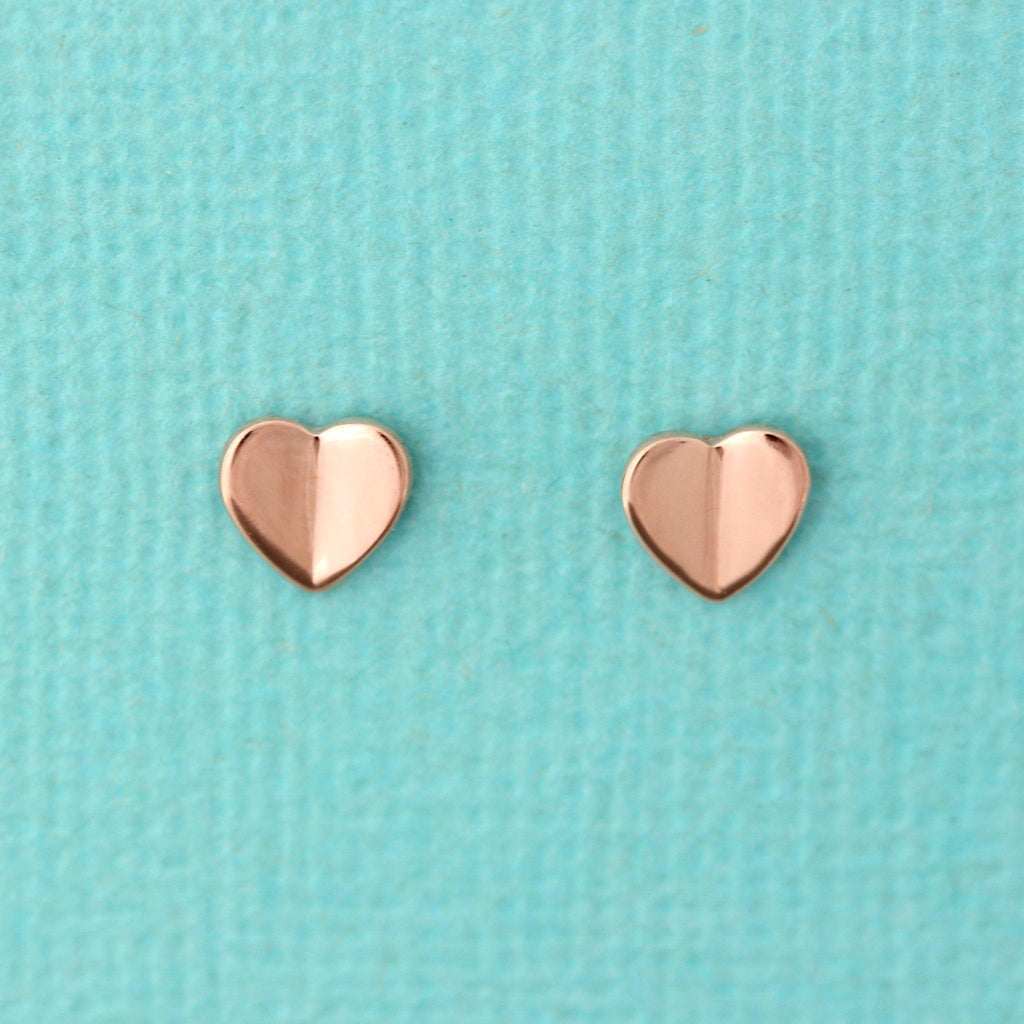 Genuine Sterling Silver 925 Small 6mm Heart Stud Earrings Rose Gold Plated