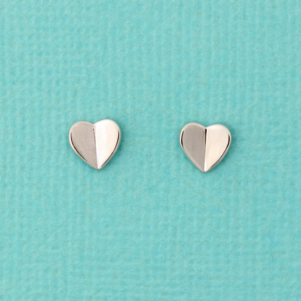 Genuine Sterling Silver 925 Small 6mm Heart Stud Earrings Rhodium Plated