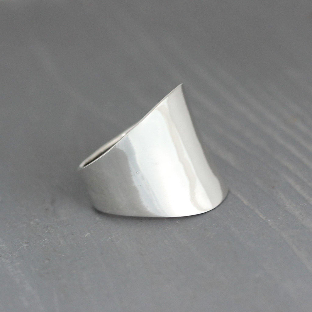 Genuine Sterling Silver 925 Modern Contemporary Wide Band Ring GIGI DESIGNS
