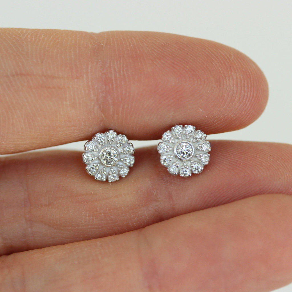 Sterling Silver 925 Small 7.5mm Round Flower CZ Stud Earrings