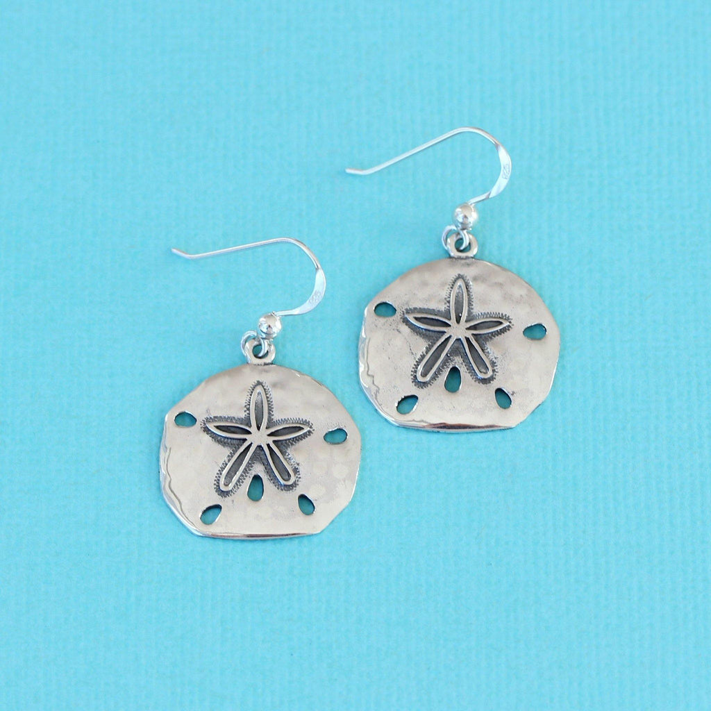 Genuine Sterling Silver 925 21mm Round Sand Dollar Marine Hook Drop Earrings