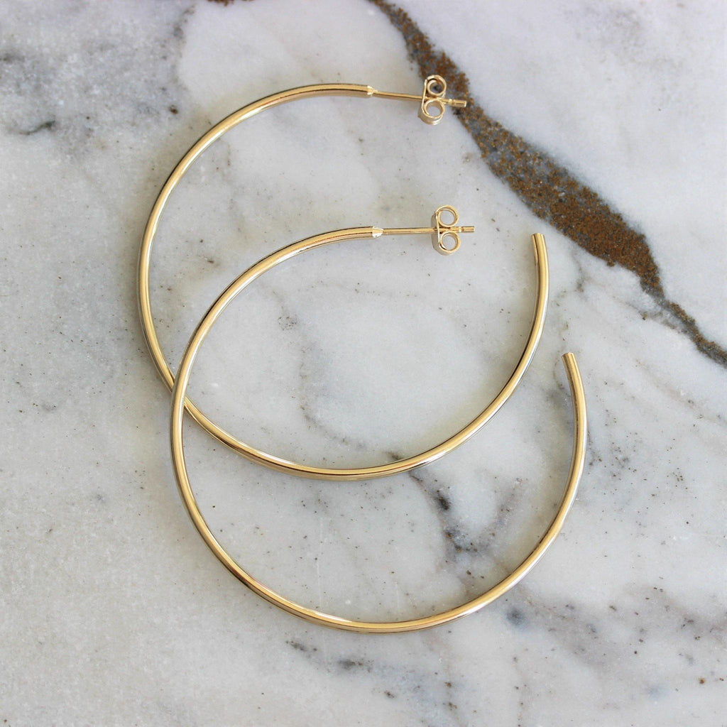 Sterling Silver Yellow Gold Plated Round Open Hoop 45mm  Diameter Drop Earrings