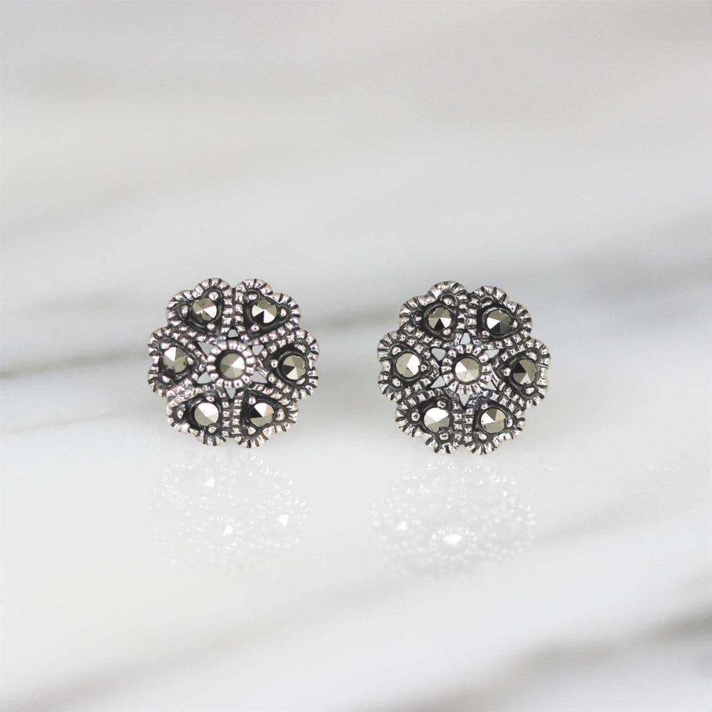 Genuine Sterling Silver 925 Marcasite Vintage Style 8.5mm Flower Stud Earrings