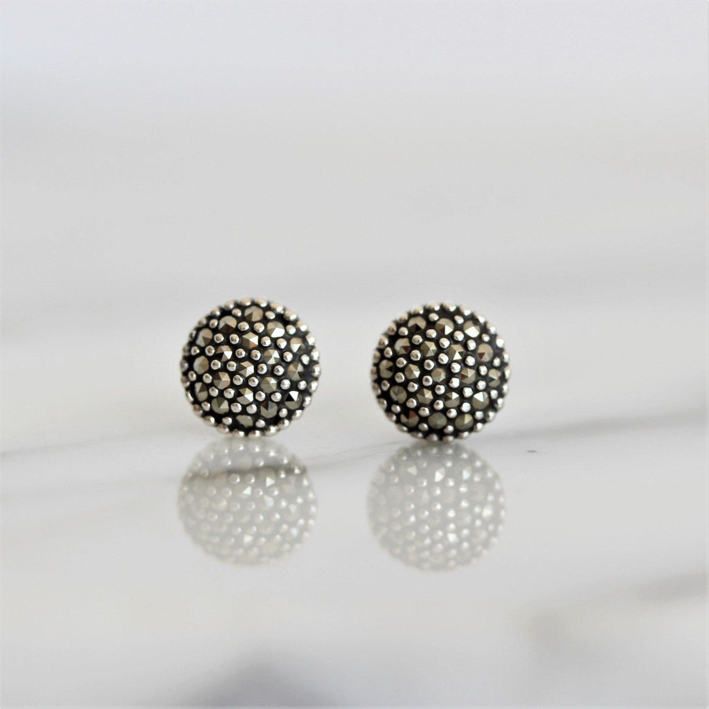 Genuine Sterling Silver 925 Marcasite Vintage Style 7.5mm Round Stud Earrings