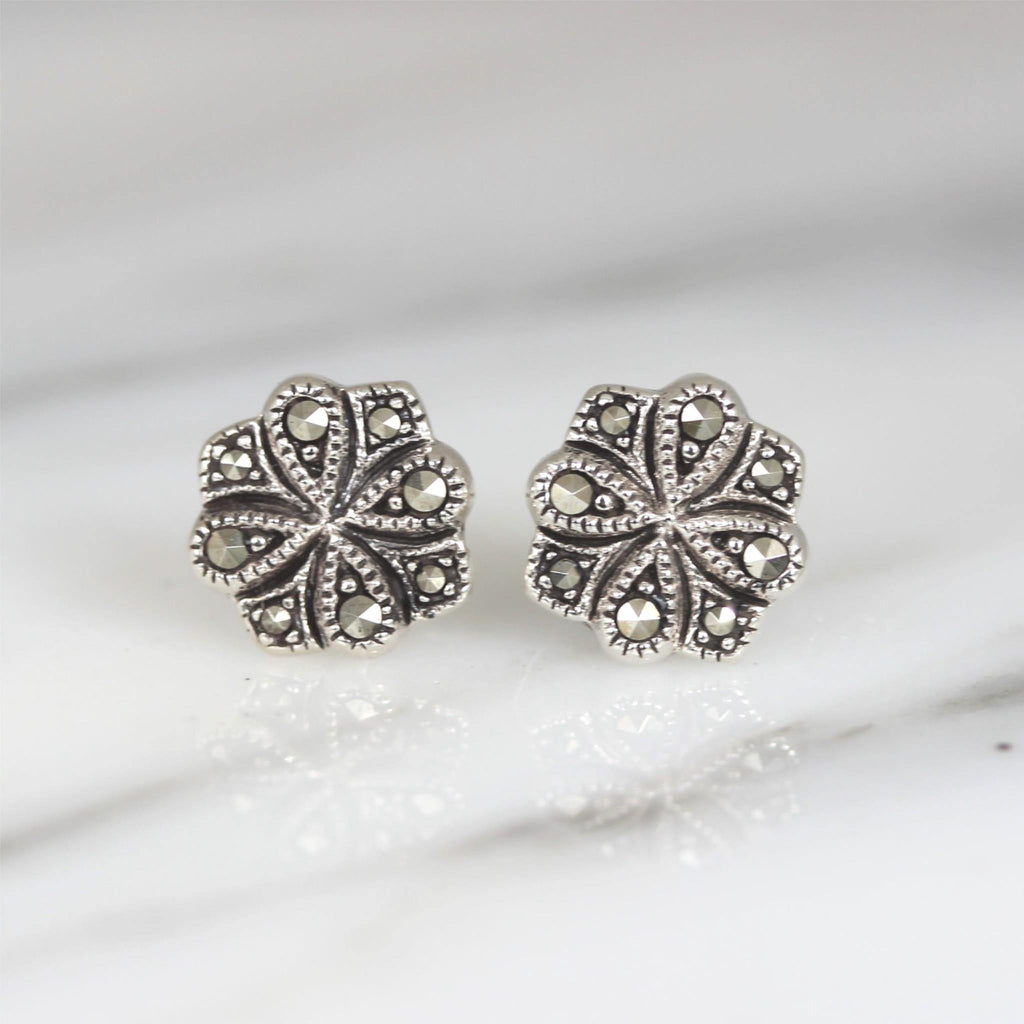 GIGI DESIGNS Sterling Silver 925 Vintage Style Marcasite 10mm Stud Earrings