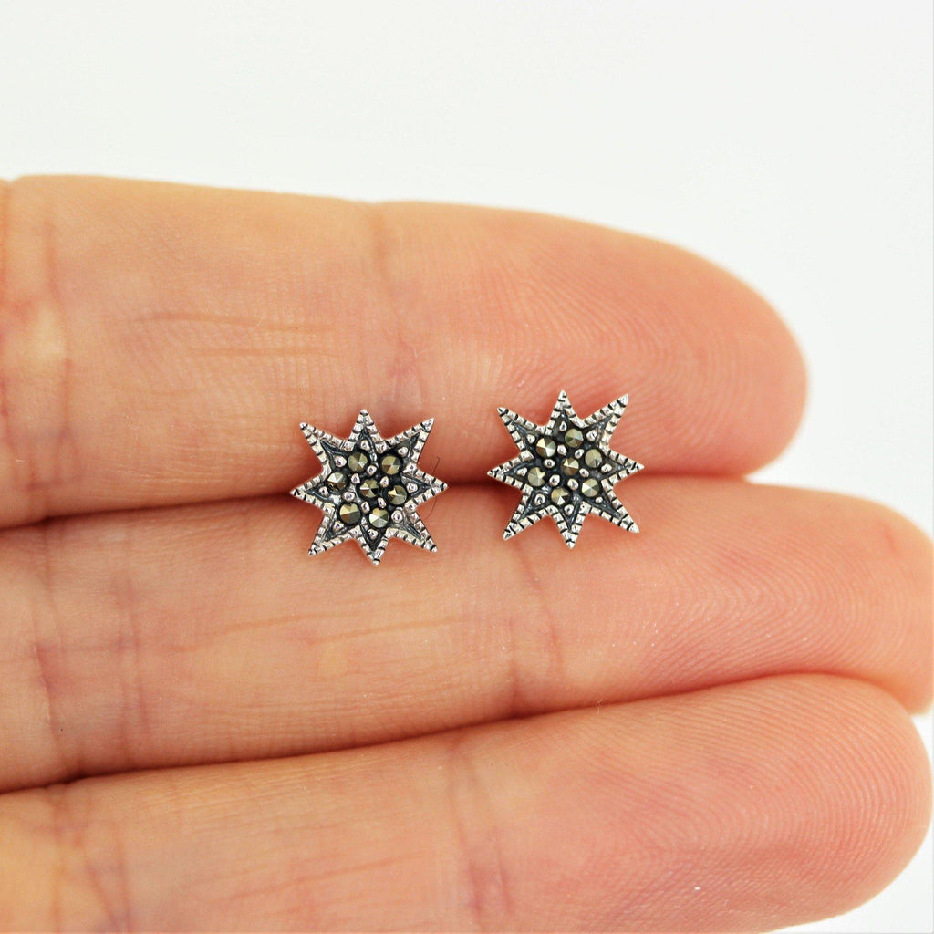 Sterling Silver 925 Vintage Inspired Marcasite 10mm Pointy Star Stud Earrings