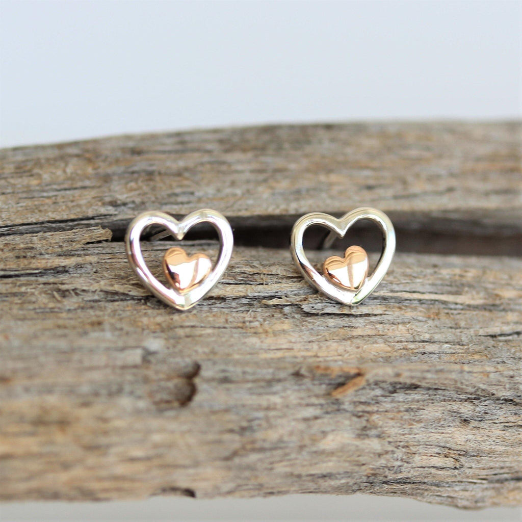 Genuine Sterling Silver 925 Two Tone Rose Gold Plated Love Heart Stud Earrings