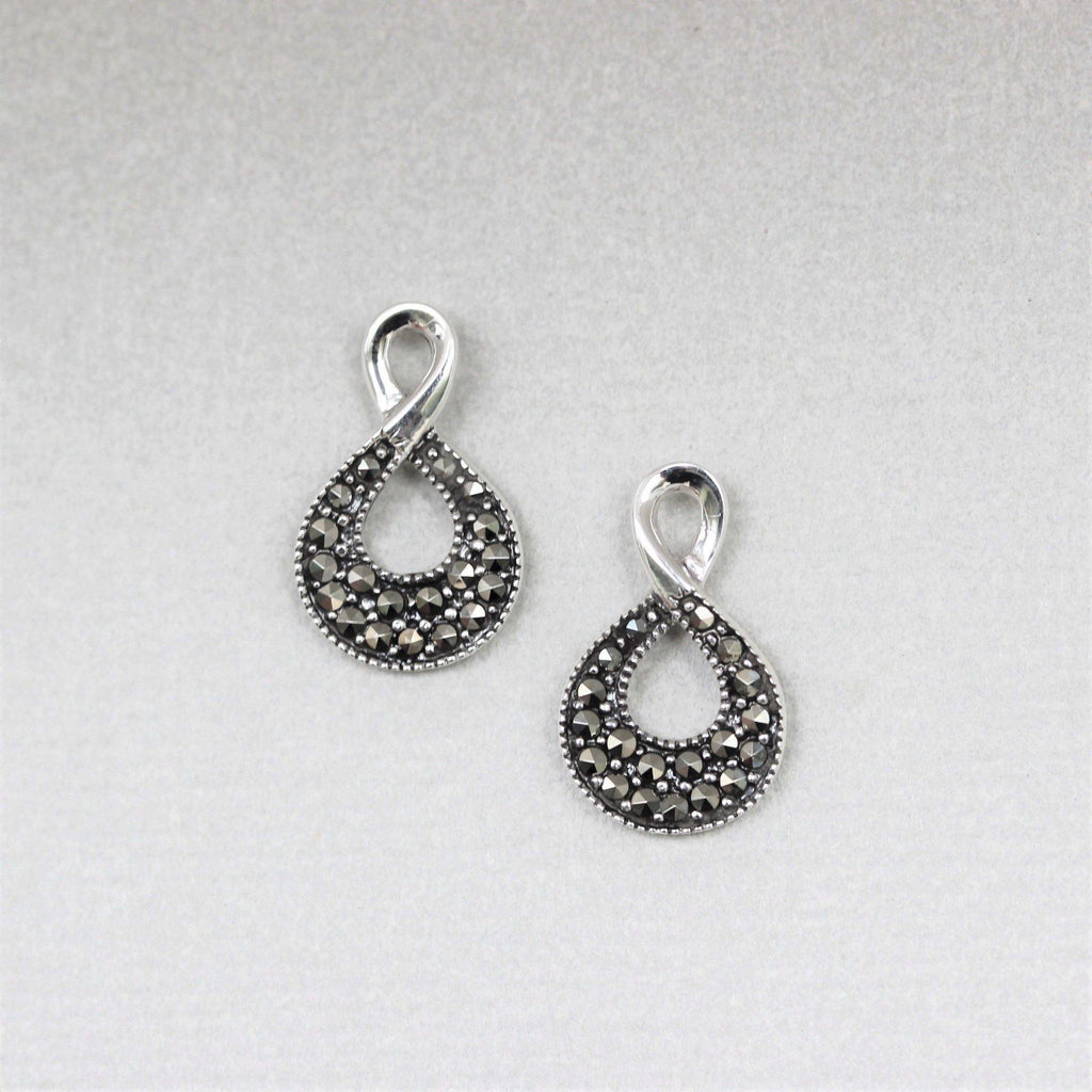 GIGI DESIGNS Sterling Silver Marcasite Vintage Style Double Loop Stud Earrings