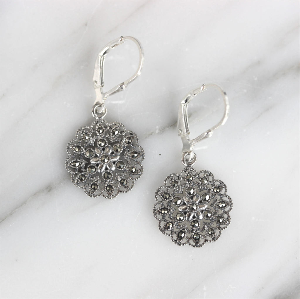 GIGI DESIGNS Sterling Silver 925 Marcasite Vintage Style Leverback Drop Earrings