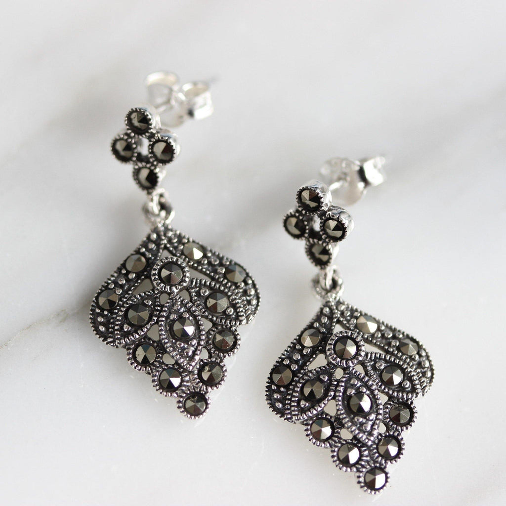 GIGI DESIGNS Sterling Silver 925 Marcasite Vintage Style Drop Dangle Earrings